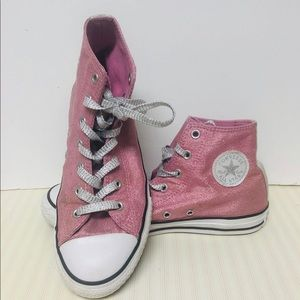 Girls sparkly pink Converse Size 4